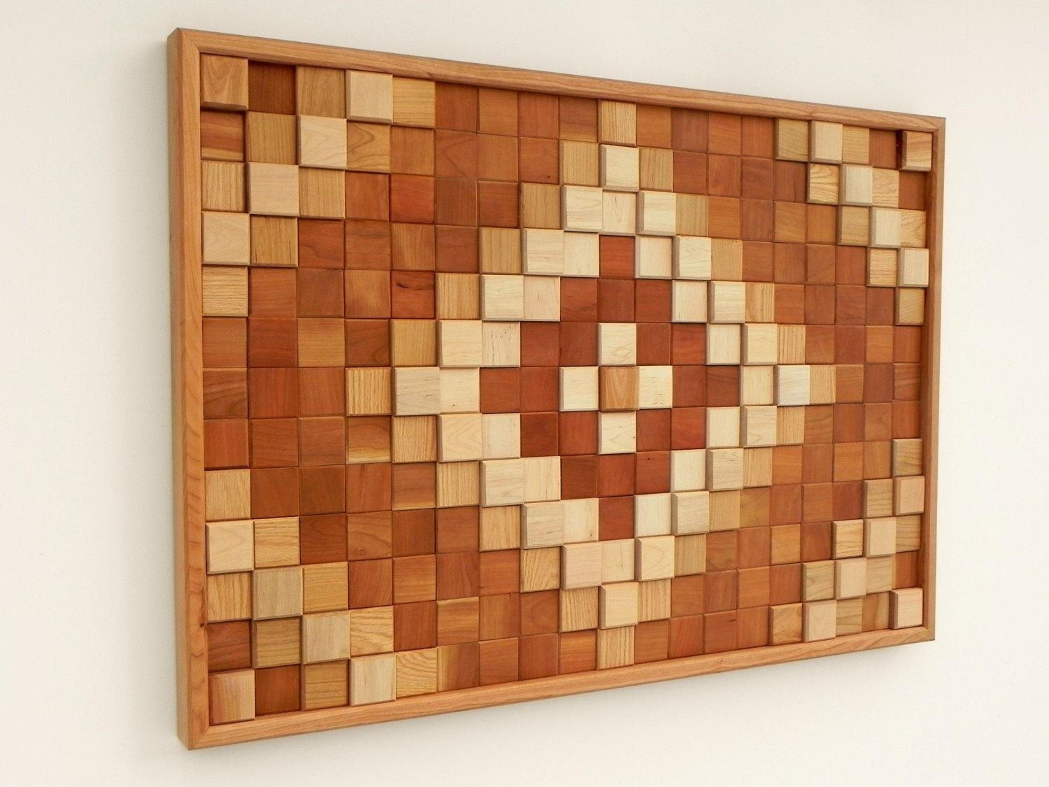 Ethnic Motifs Wood Wall Art /cherry, Maple, Oak/ With Regard To Natural Wood Wall Art (Image 7 of 20)