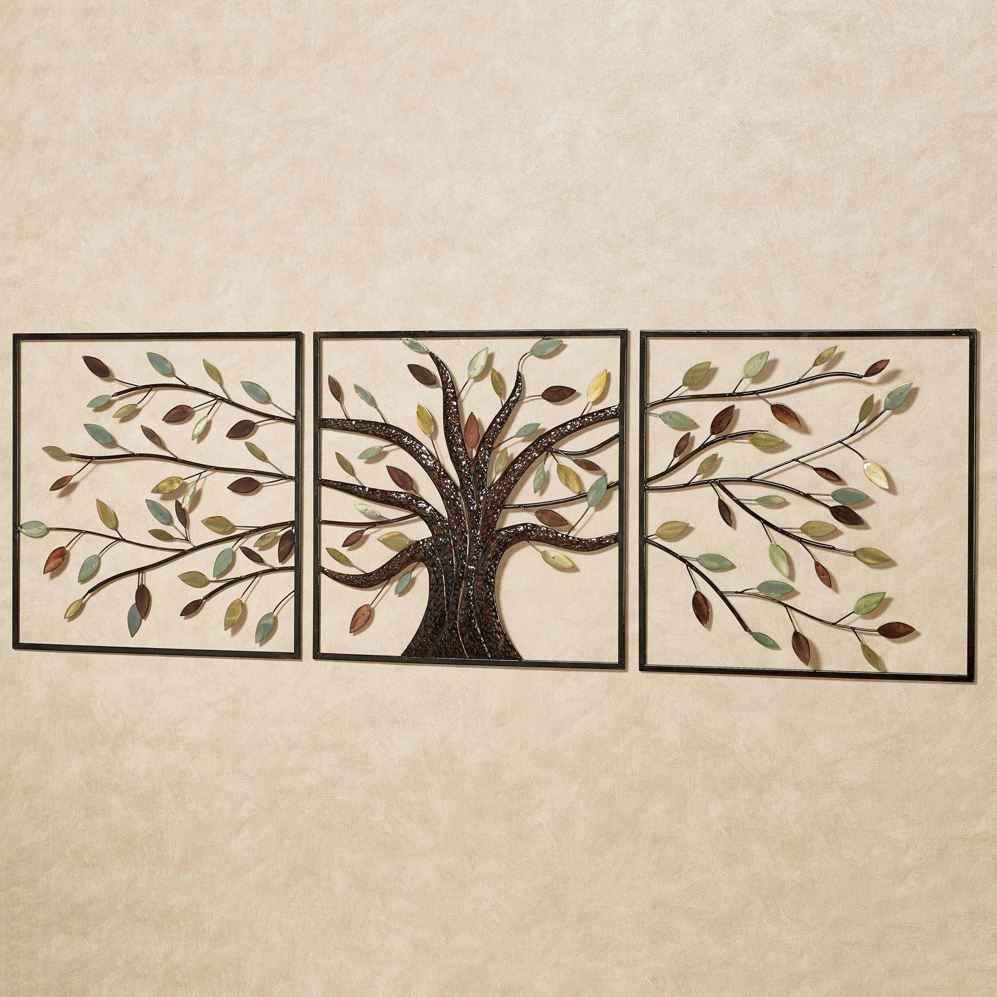 Ever Changing Brown Tree Metal Wall Art Set For Metal Tree Wall Art Sculpture (Image 3 of 20)
