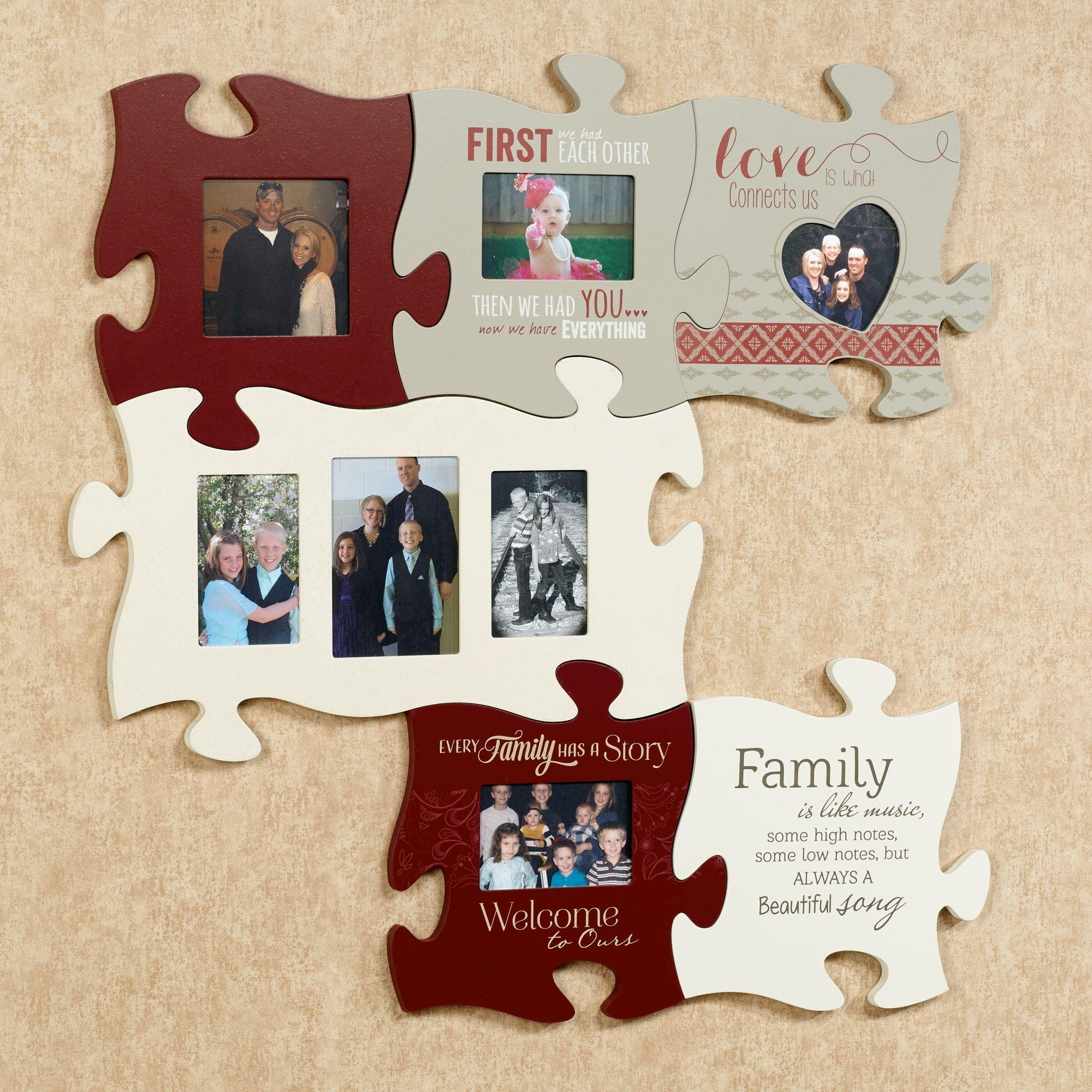 Every Family Photo Frame Puzzle Piece Wall Art For Burgundy Wall Art (Image 7 of 20)