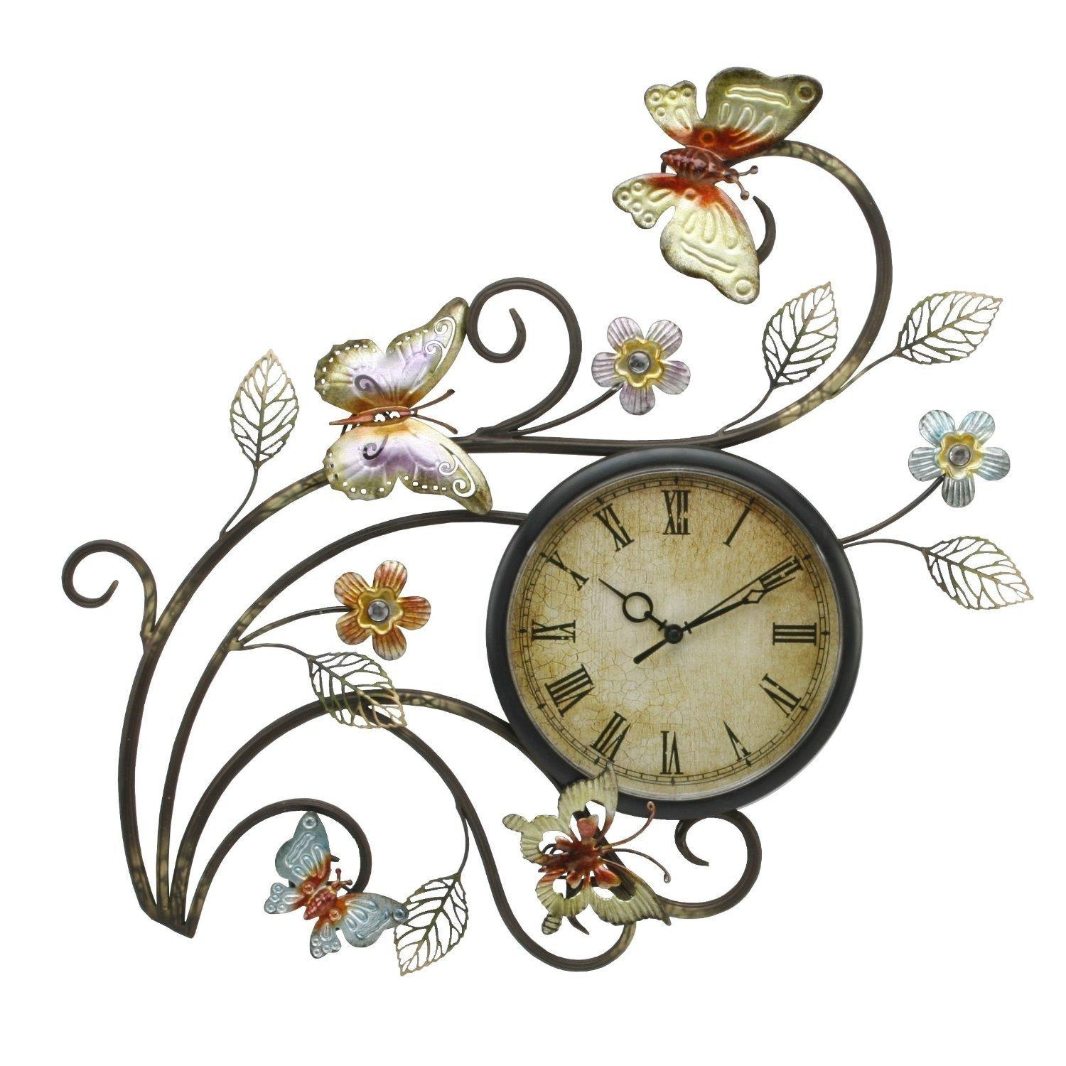 Excellent Metal Wall Clock Art 109 Sei Hand Painted Metal Gear With Regard To Large Metal Butterfly Wall Art (Image 6 of 20)