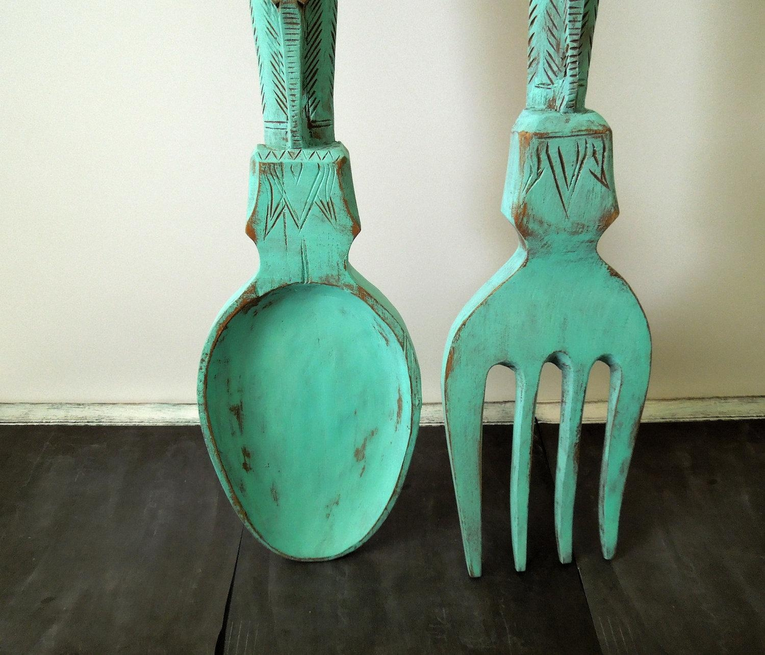 Excellent Oversized Fork And Spoon Wall Decoration 16 Giant Knife Pertaining To Big Spoon And Fork Decors (Image 4 of 20)