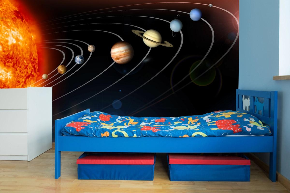 Exploring Our Solar System Wall Mural Within Solar System Wall Art (Image 3 of 20)