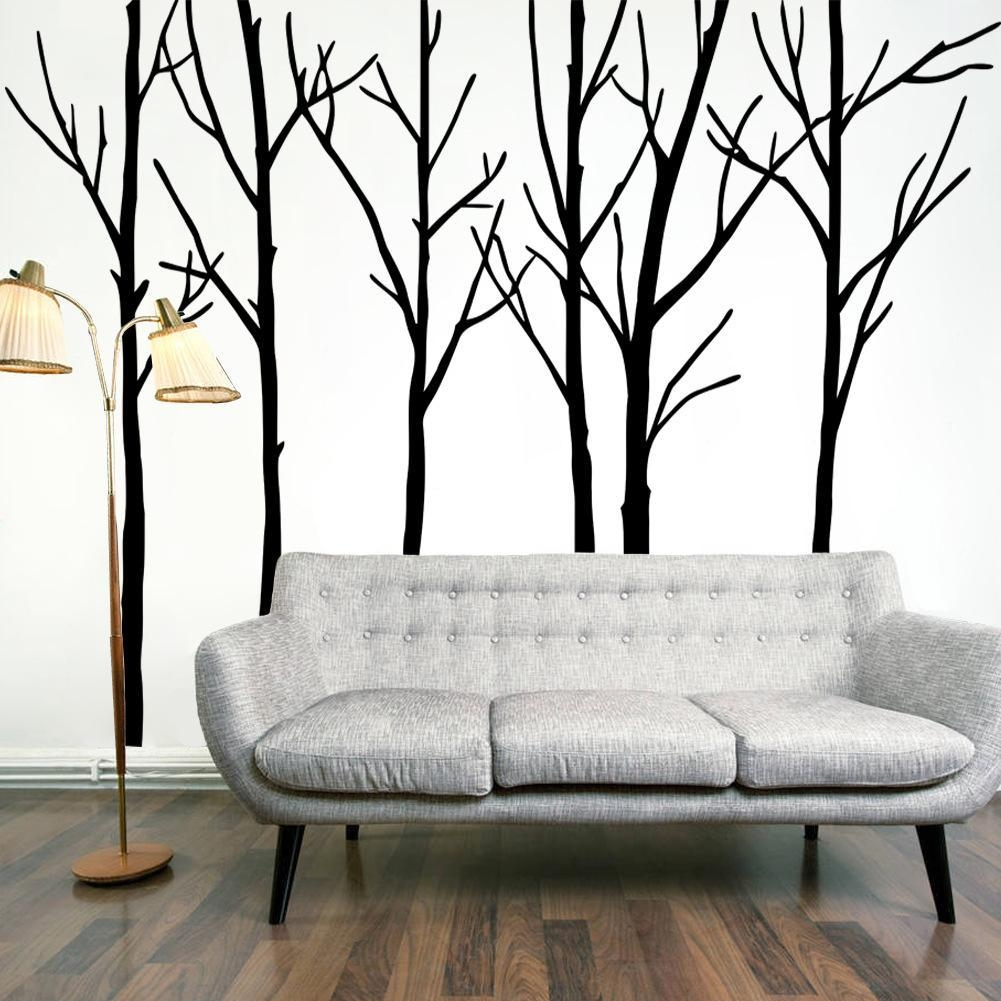 Extra Large Black Tree Branches Wall Art Mural Decor Sticker Within Big Cheap Wall Art (Image 13 of 20)