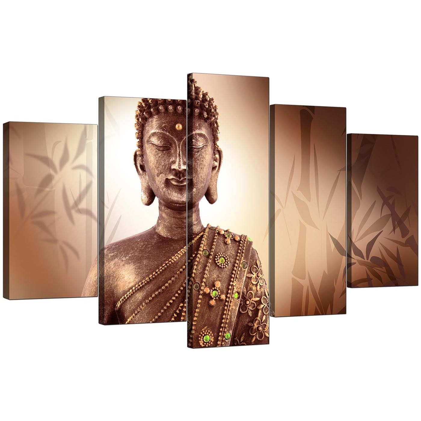 Extra Large Buddha Canvas Prints Uk Five Panel In Brown For Cheap Wall Canvas Art (View 15 of 20)