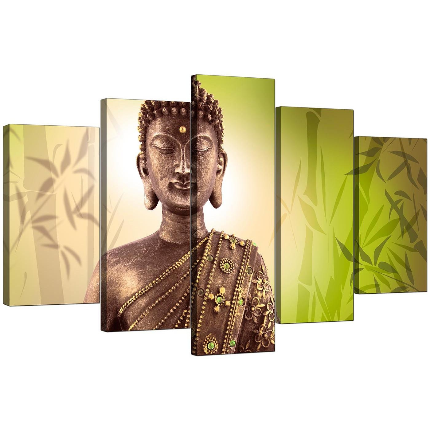 Extra Large Buddha Canvas Wall Art 5 Piece In Green For Large Green Wall Art (Image 7 of 20)