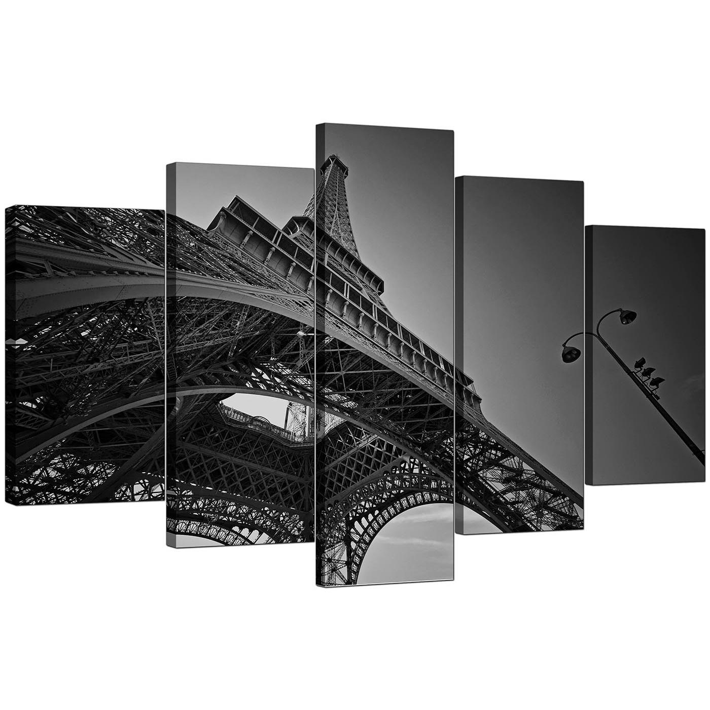 Extra Large Eiffel Tower Paris Canvas Art Set Of 5 In Black & White Intended For Black And White Paris Wall Art (Image 7 of 20)