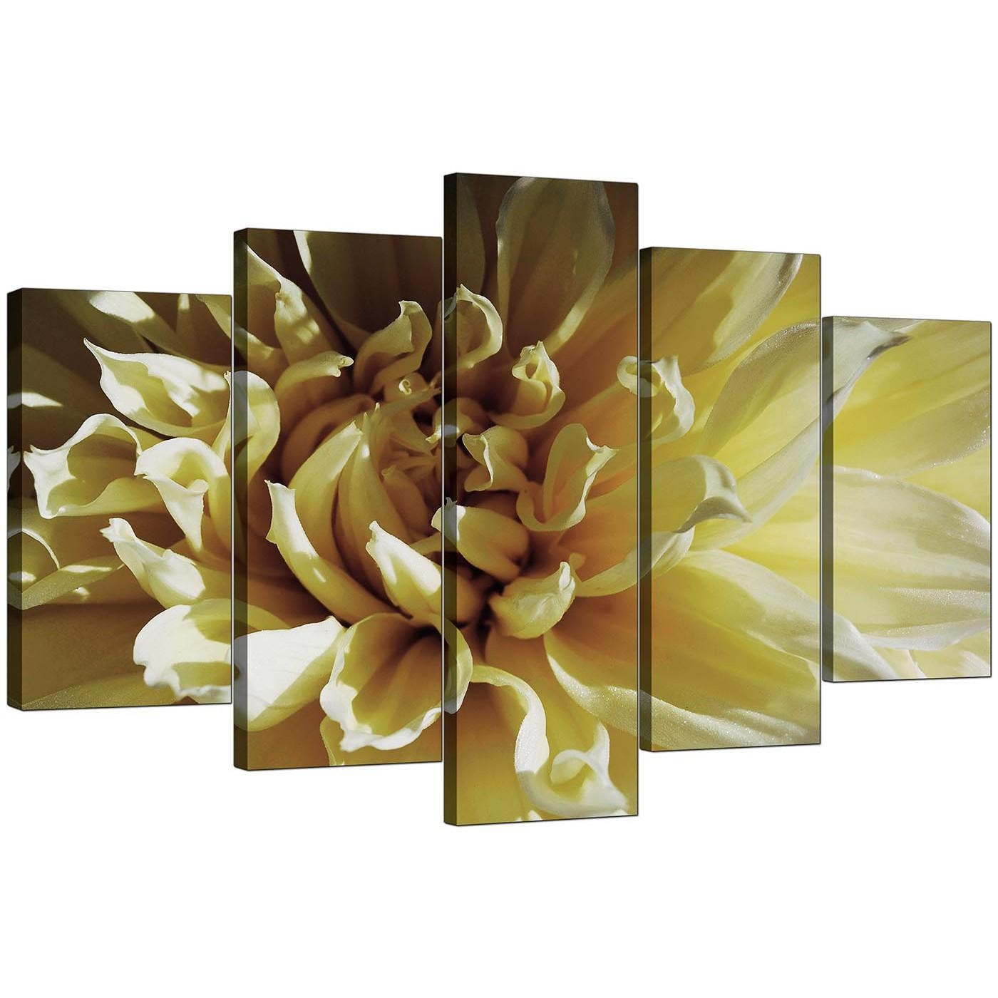Extra Large Flower Canvas Wall Art 5 Piece In Cream With Regard To Flower Wall Art Canvas (View 9 of 20)