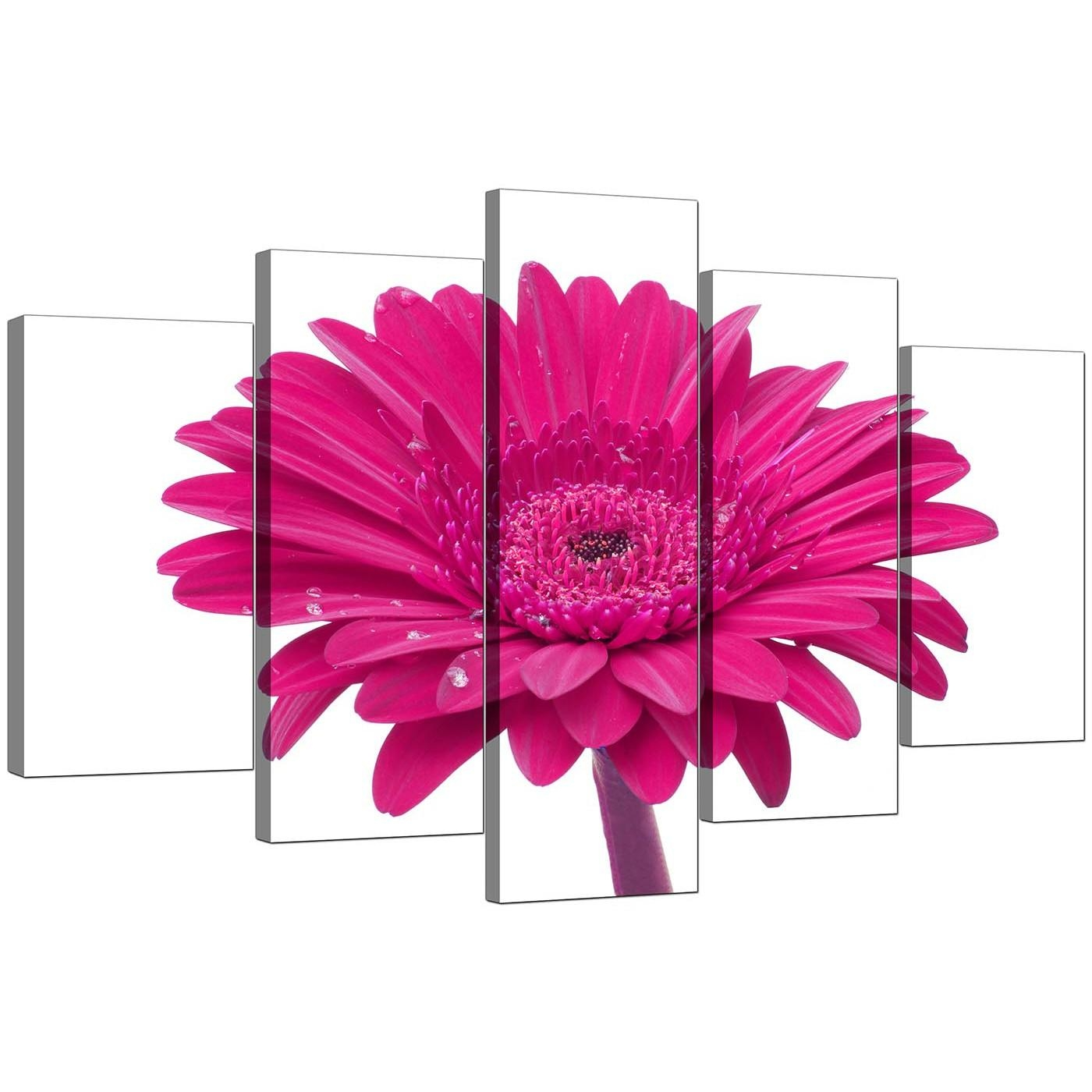 Extra Large Flower Canvas Wall Art 5 Piece In Pink Throughout Pink Flower Wall Art (Image 7 of 20)