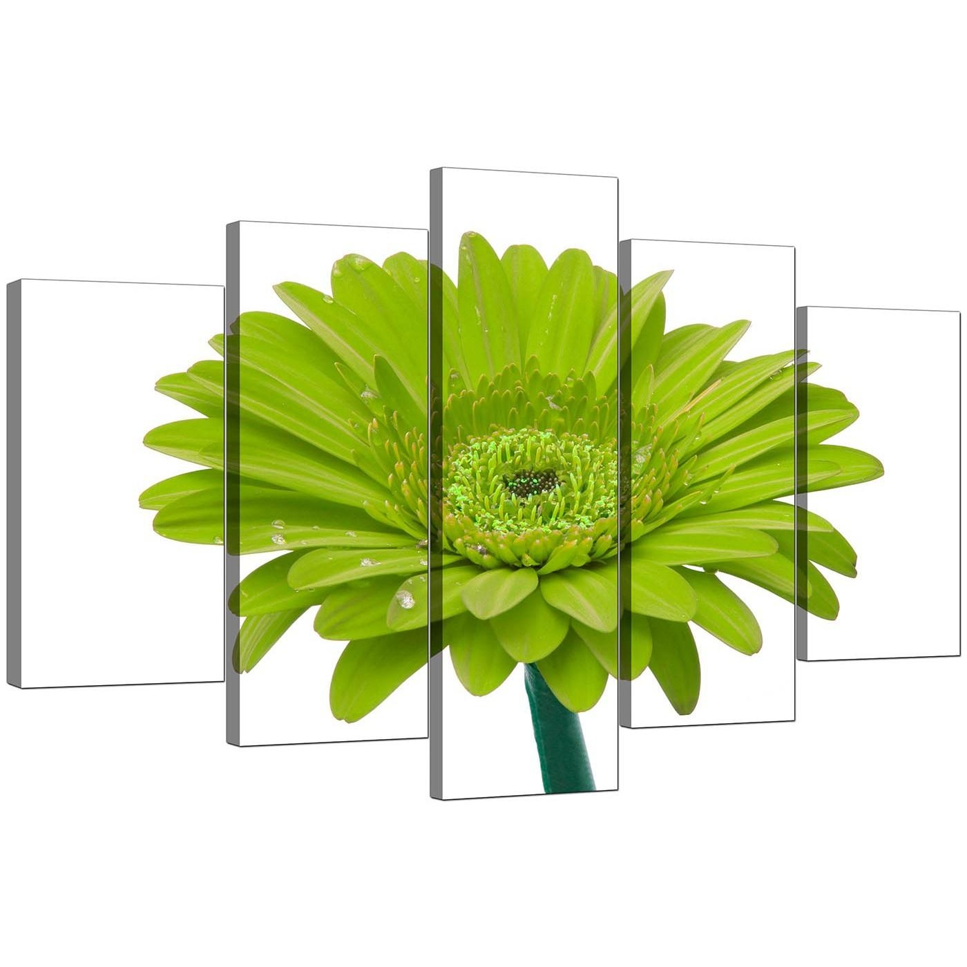 Extra Large Flower Canvas Wall Art Five Part In Lime Green Throughout Lime Green Metal Wall Art (Image 11 of 20)