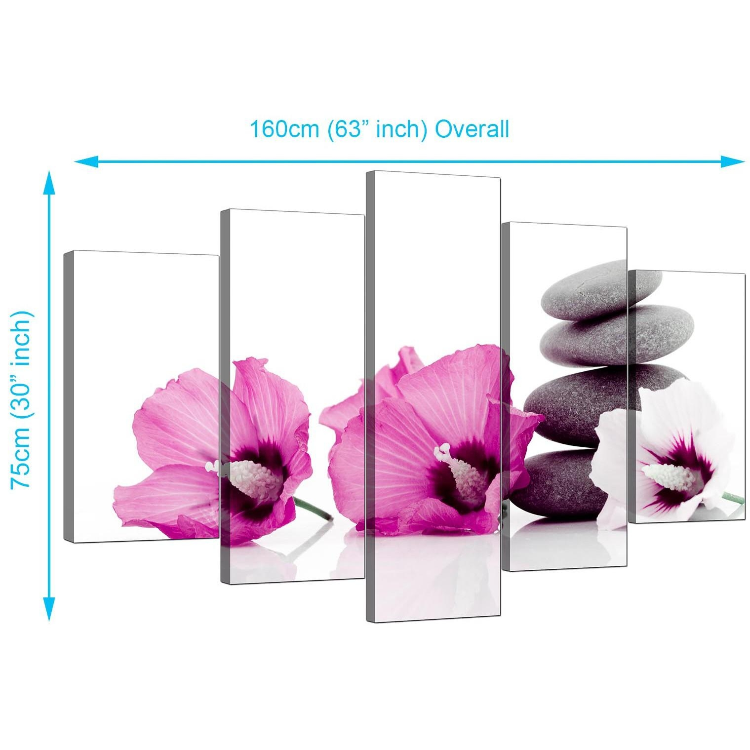Extra Large Flowers Canvas Prints Uk 5 Panel In Pink In Plum Coloured Wall Art (View 16 of 20)