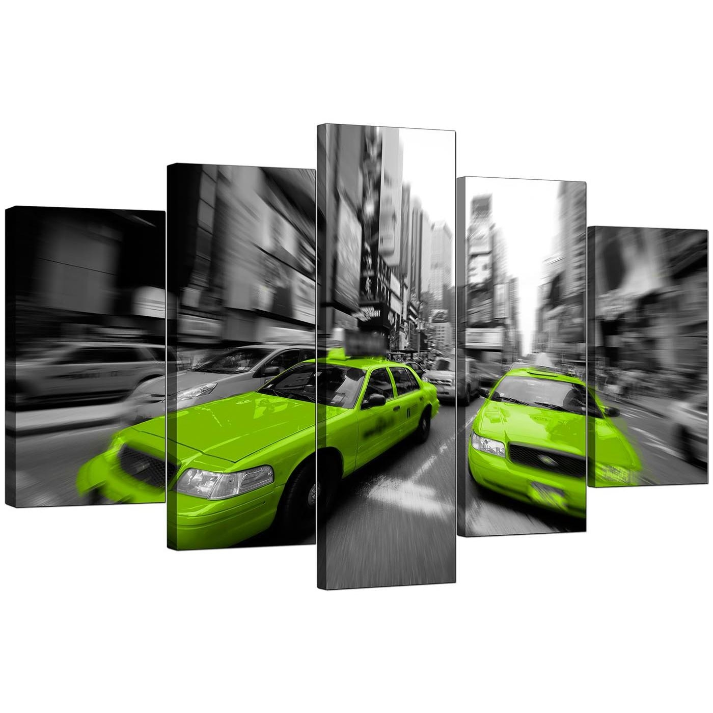 Extra Large Green New York Taxi Canvas Prints 5 Parts In Black & White With Regard To Green Canvas Wall Art (Image 13 of 20)