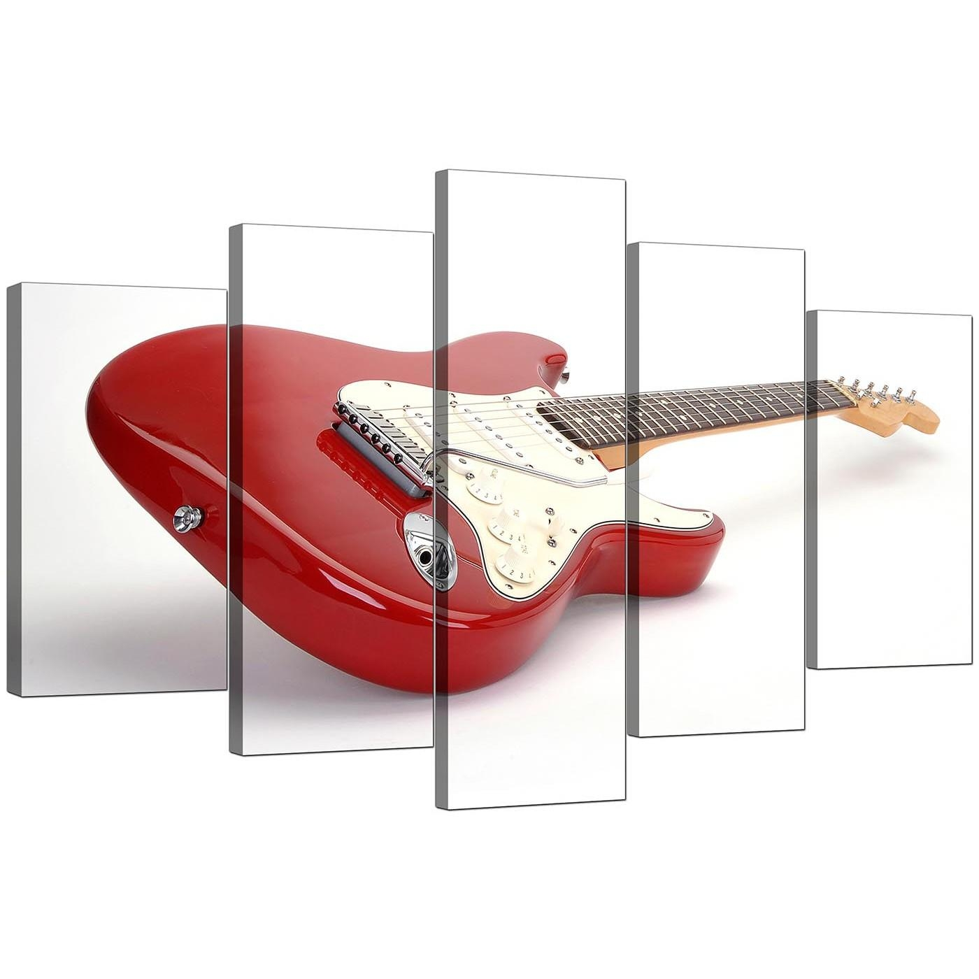 Extra Large Guitar Canvas Wall Art 5 Panel In Red For Guitar Canvas Wall Art (Image 8 of 20)