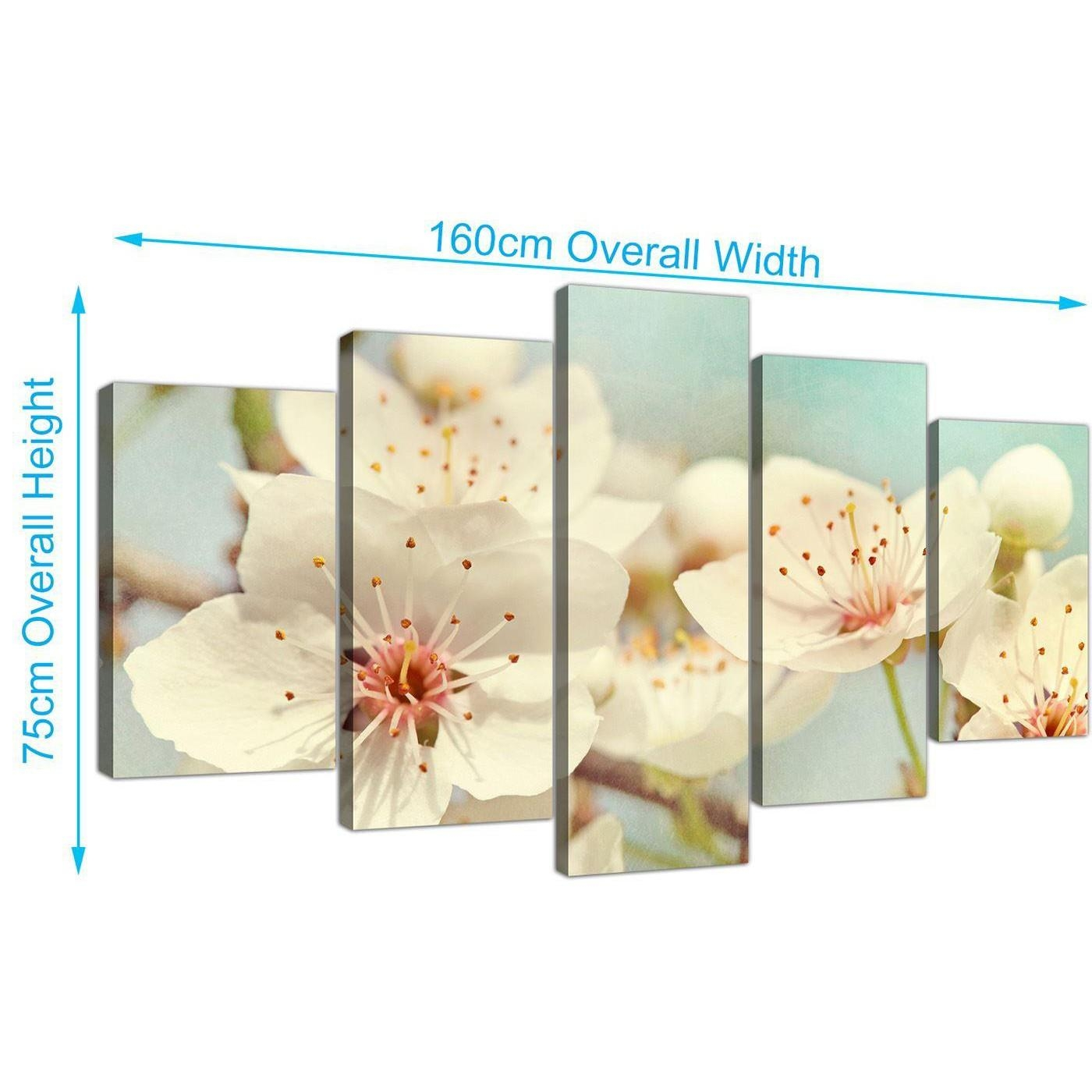 Extra Large Japanese Cherry Blossom Duck Egg Blue White Floral Throughout Duck Egg Blue Wall Art (View 14 of 20)