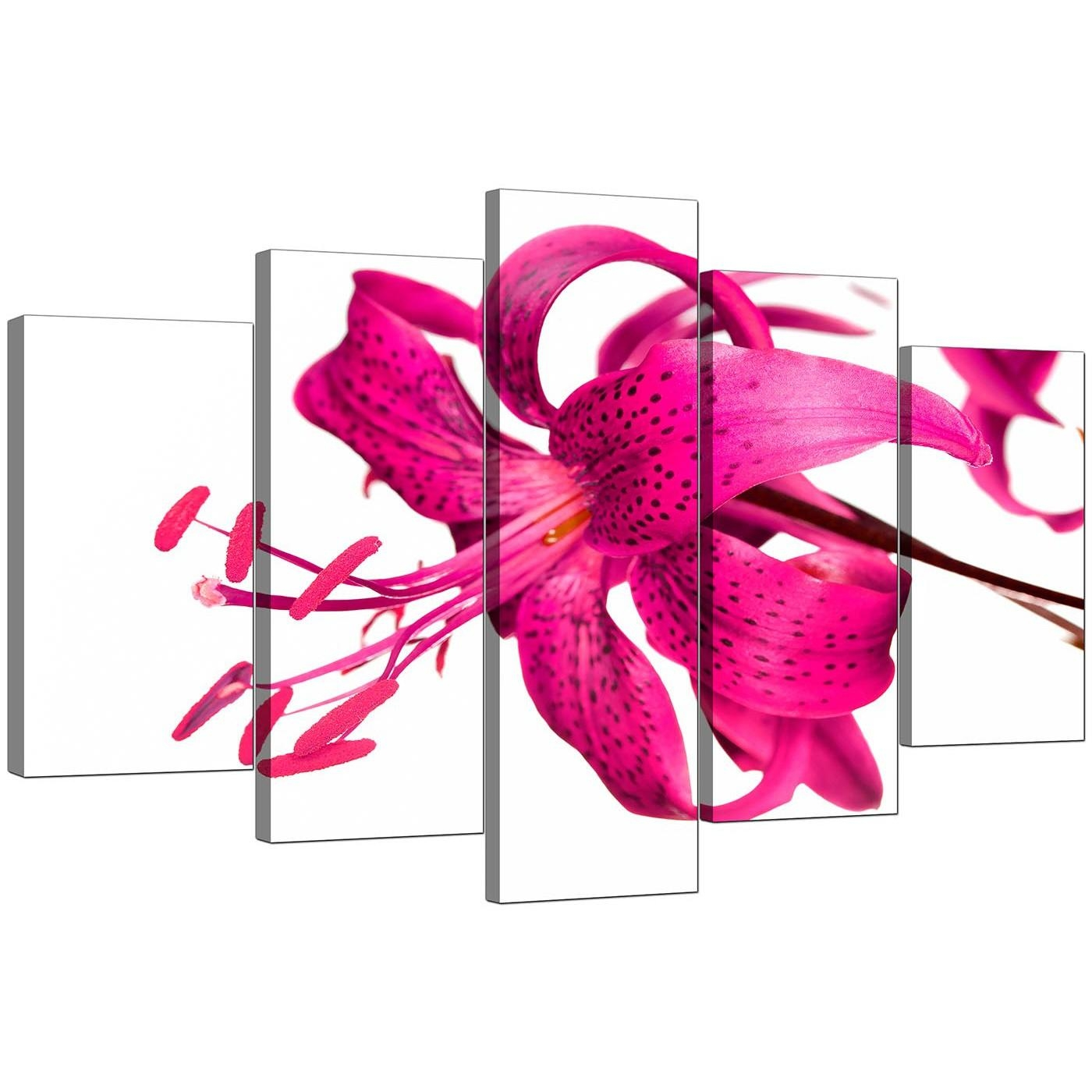 Extra Large Lily Canvas Wall Art Set Of 5 In Pink Intended For Girls Canvas Wall Art (View 18 of 20)