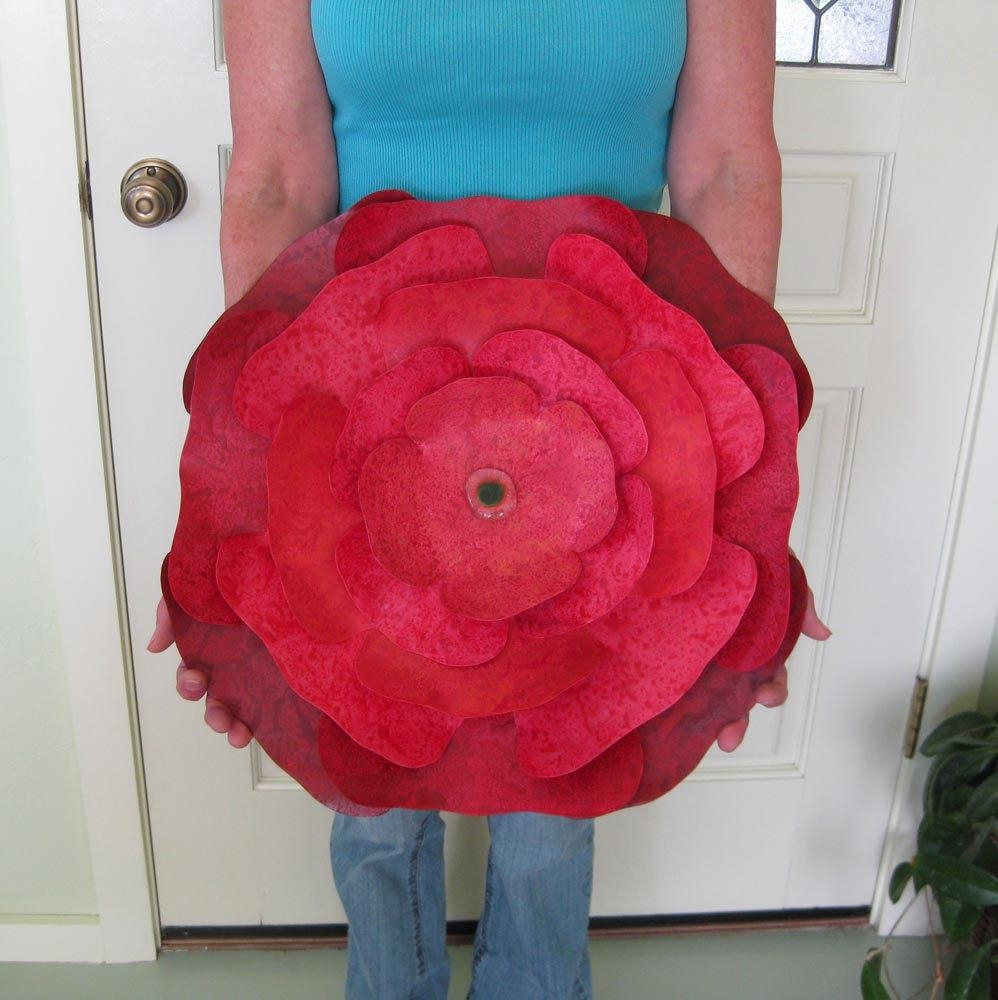 Extra Large Metal Wall Sculpture Flower Art Red Hibiscus Pertaining To Red Flower Metal Wall Art (View 8 of 20)