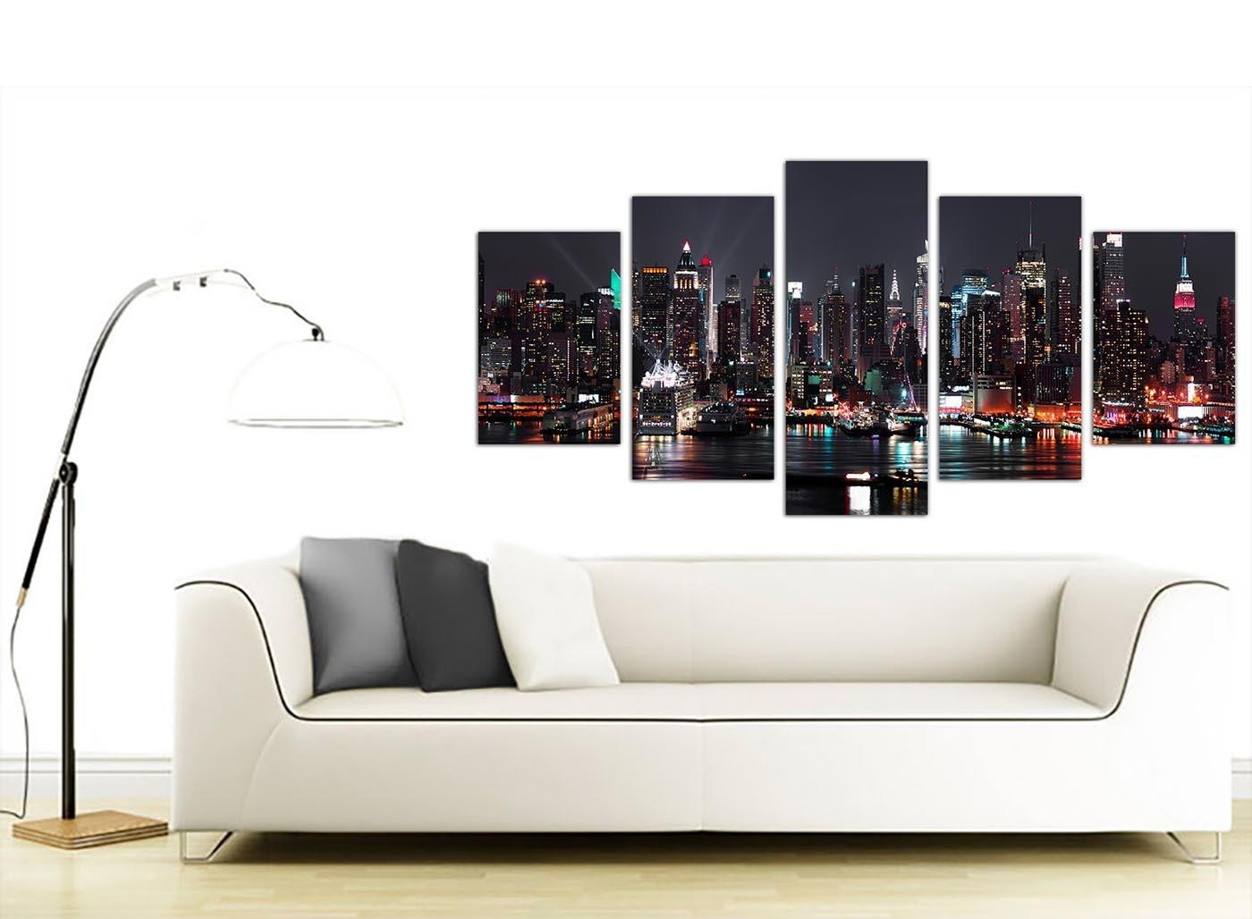 Extra Large Nyc Nightime Canvas Pictures 5 Piece In Black And White With Regard To Black And White New York Canvas Wall Art (Image 8 of 20)