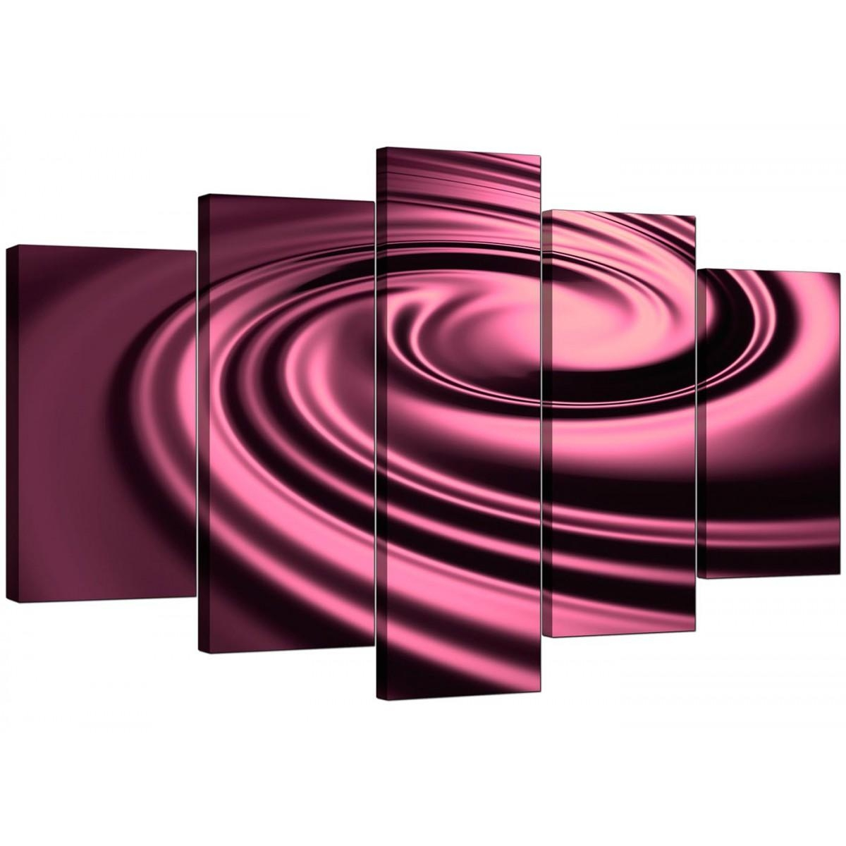 Extra Large Plum Abstract Canvas Wall Art – Set Of Five Intended For Plum Coloured Wall Art (Image 8 of 20)