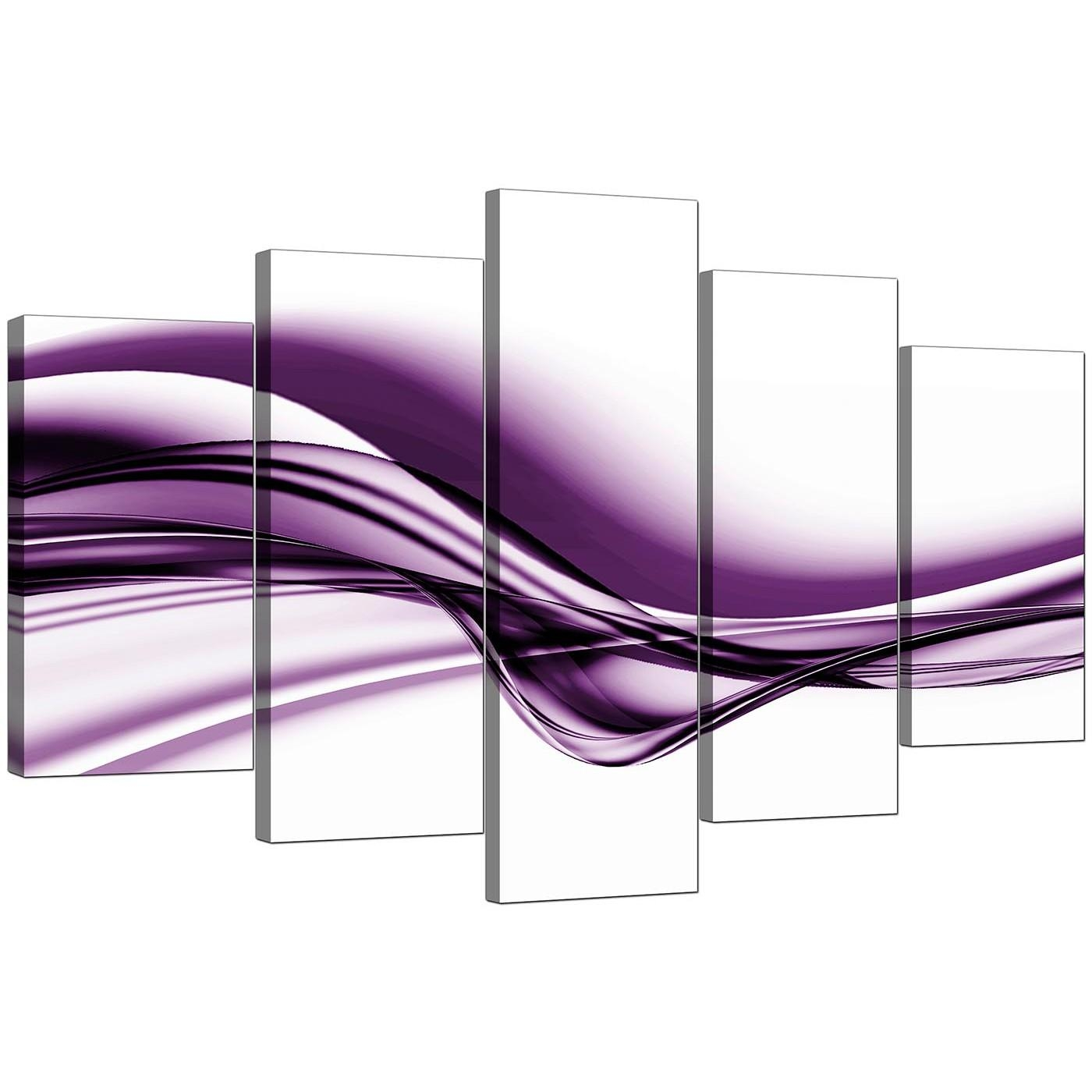 Extra Large Purple Abstract Canvas Prints – 5 Piece Inside Purple Canvas Wall Art (Image 9 of 20)