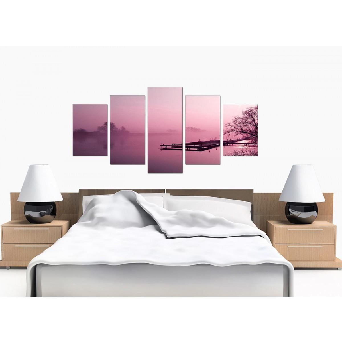 Extra Large River Landscape Canvas Wall Art 5 Panel In Plum Throughout Plum Coloured Wall Art (View 4 of 20)