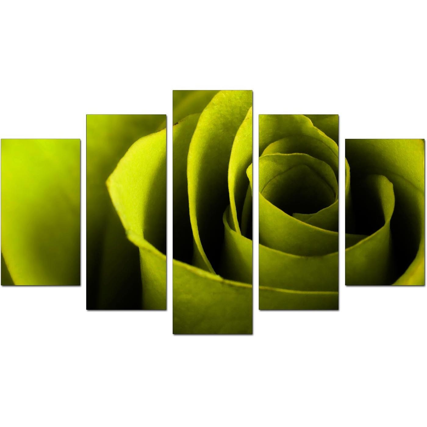 Extra Large Rose Canvas Wall Art 5 Panel In Green In Green Canvas Wall Art (View 13 of 20)
