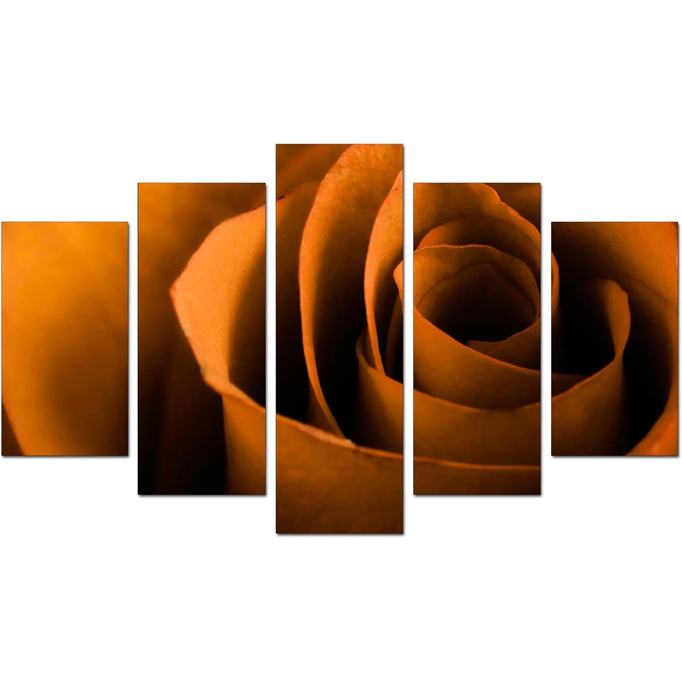 Extra Large Rose Canvas Wall Art 5 Panel In Orange With Regard To Rose Canvas Wall Art (View 13 of 20)