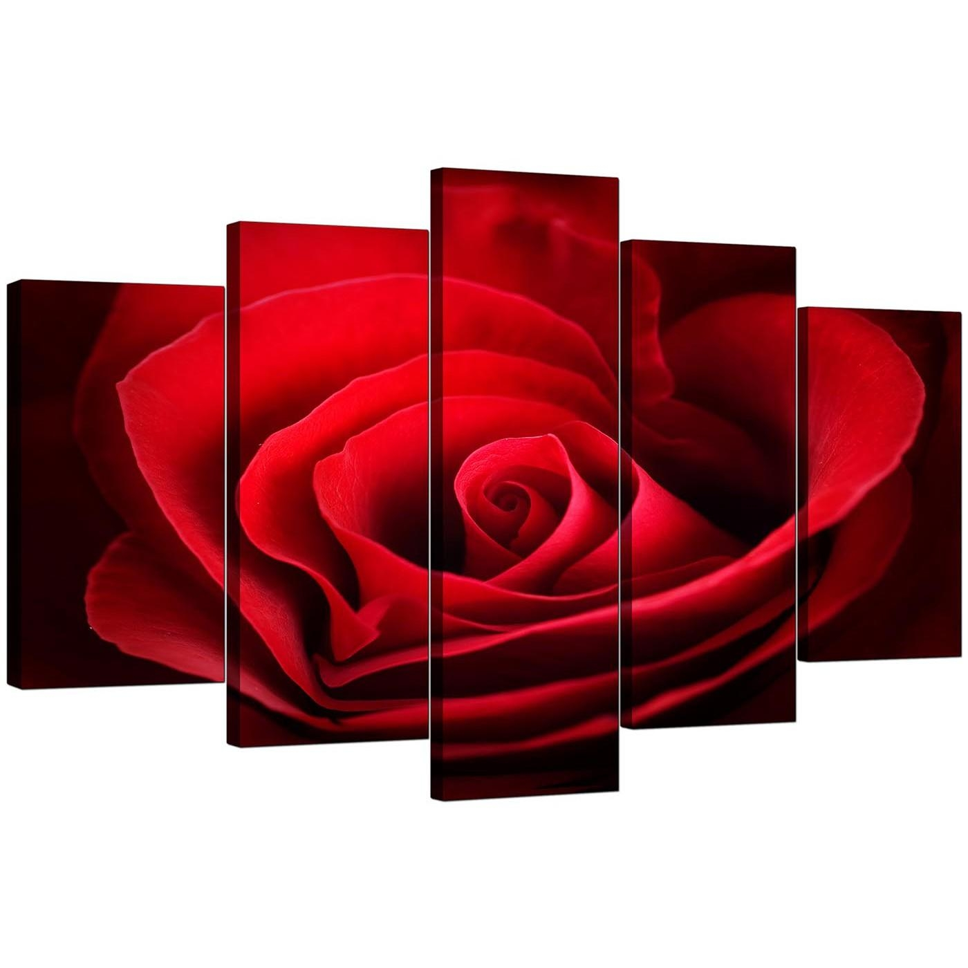Extra Large Rose Canvas Wall Art 5 Panel In Red Inside Rose Canvas Wall Art (View 2 of 20)