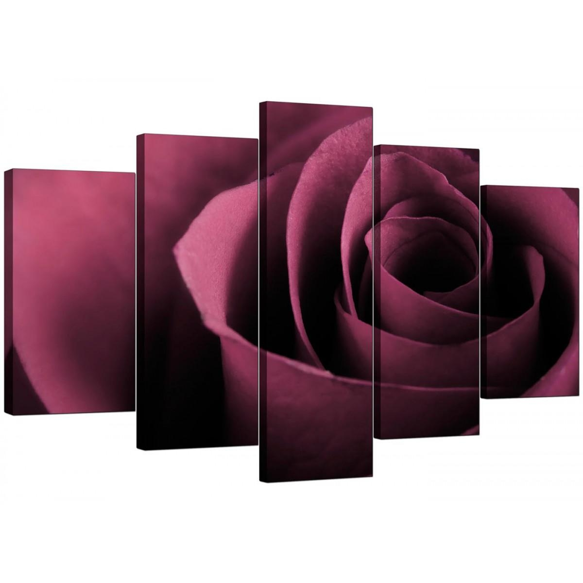 Extra Large Rose Canvas Wall Art Five Piece In Plum Throughout Plum Coloured Wall Art (Image 10 of 20)