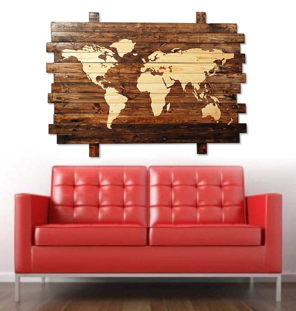 Extra Large Rustic Stained Wood World Map Wall Art 50 With World Wall Art (Image 8 of 20)
