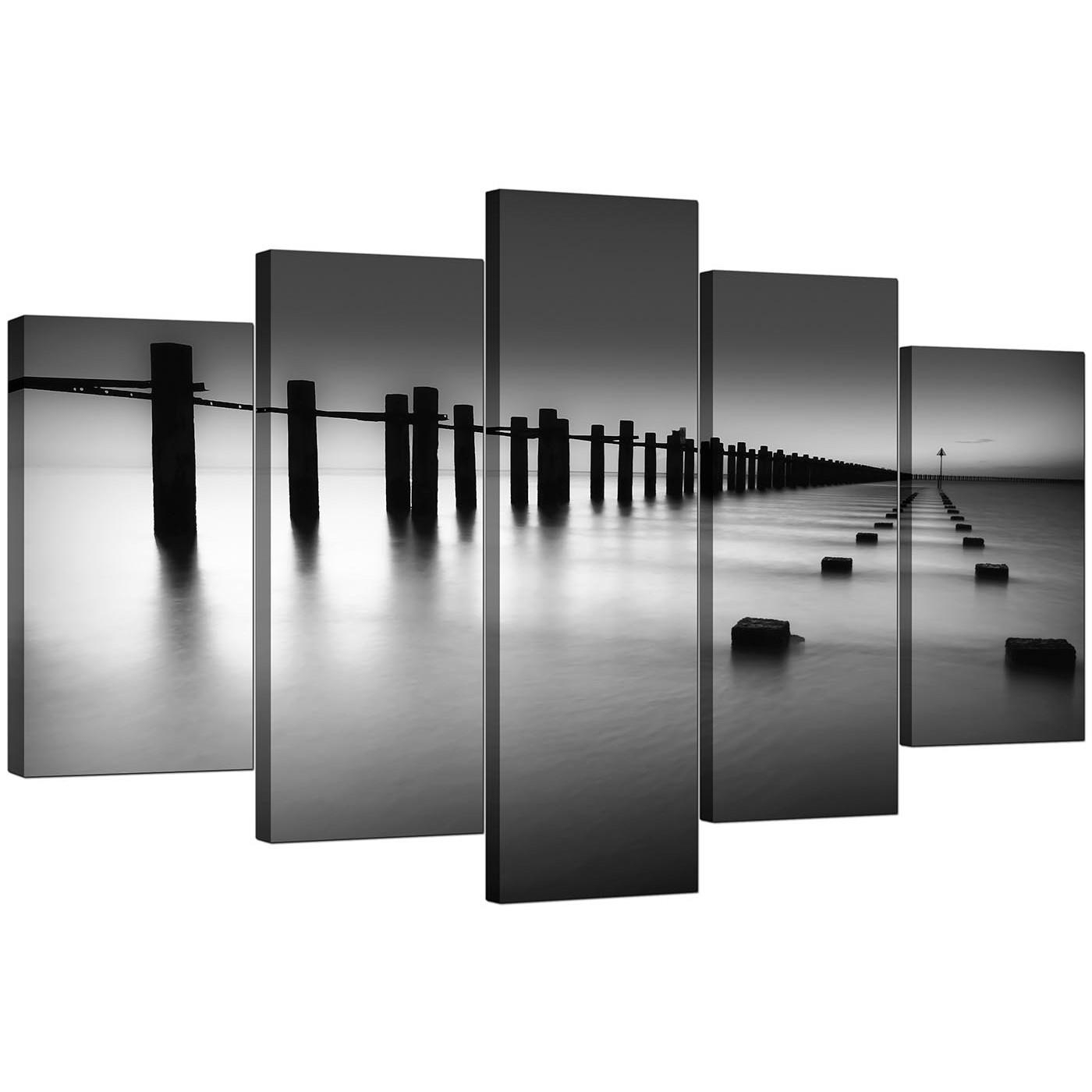 Extra Large Sea Canvas Prints 5 Piece In Black & White In Large Black And White Wall Art (Image 9 of 20)