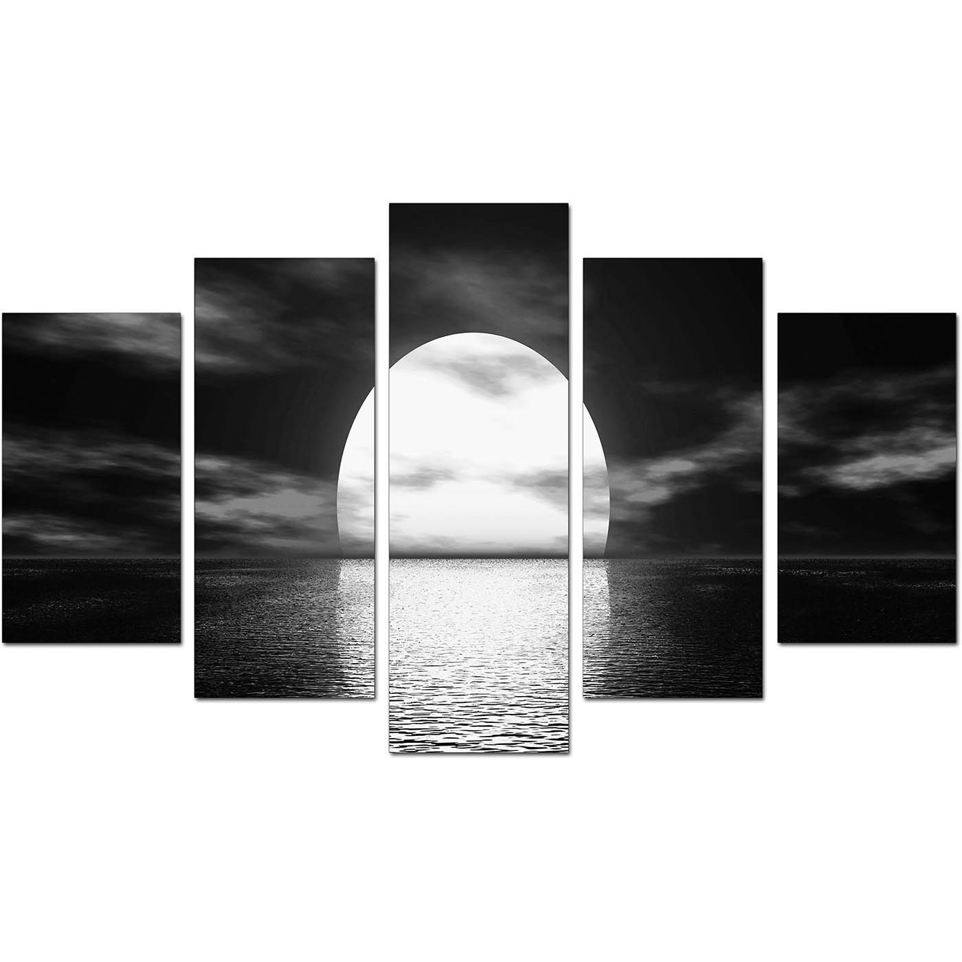 Extra Large Sunset Canvas Prints Uk Set Of Five In Black & White Pertaining To Large Black And White Wall Art (View 3 of 20)