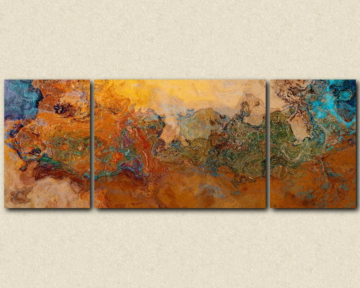 Extra Large Triptych Abstract Art Canvas Print 30X80 To Within Large Triptych Wall Art (Image 3 of 20)