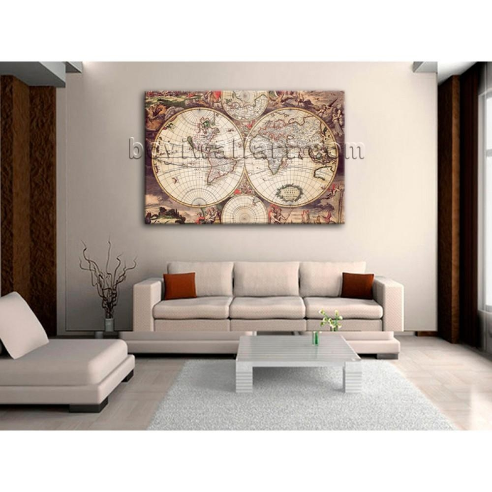 Extra Large Wall Art Print On Canvas World Map Retro Global Atlas Regarding Extra Large Wall Art Prints (Image 5 of 20)