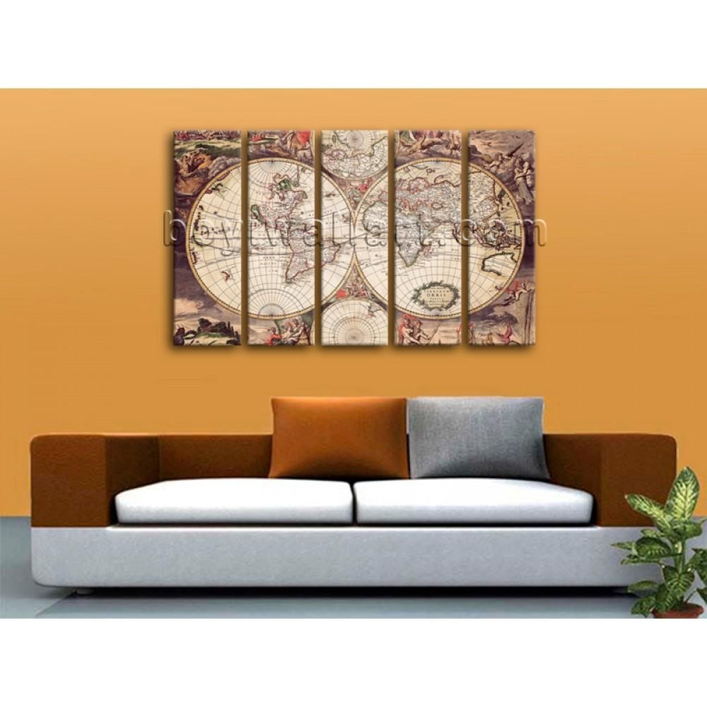 Extra Large Wall Art Print On Canvas World Map Retro Global Atlas Within Atlas Wall Art (View 9 of 20)