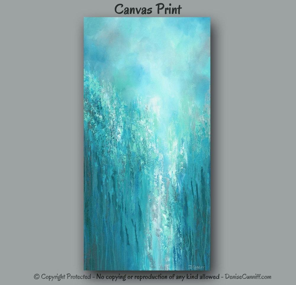 Extra Large Wall Art Teal Abstract Turquoise Home Decor With Regard To Large Teal Wall Art (Image 8 of 20)