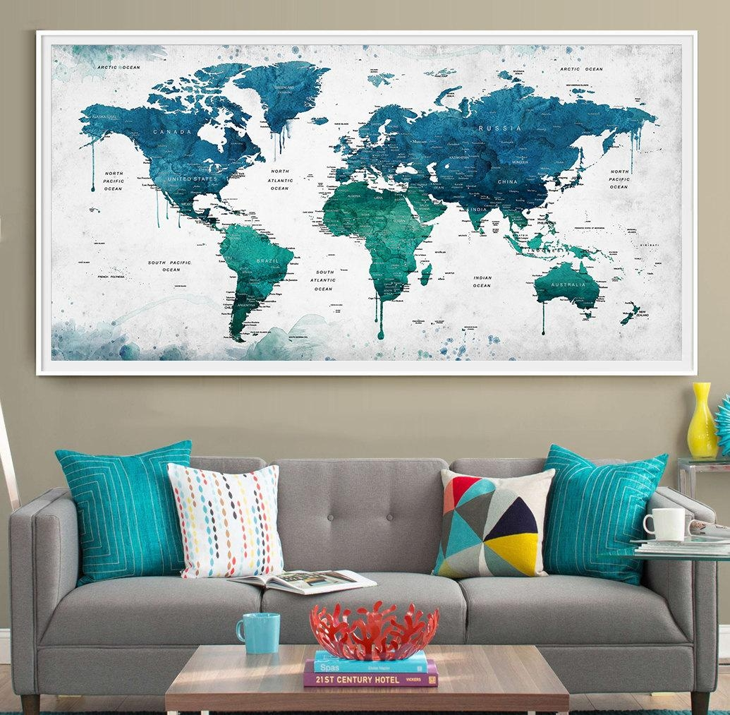 Extra Large Watercolor Push Pin Map Poster Print World Map Intended For United States Map Wall Art (Image 7 of 21)