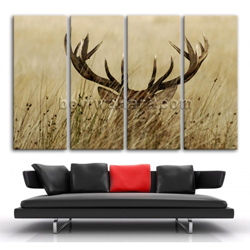 Extra Large Whitetail Deer Animal Contemporary Canvas Wall Art Pertaining To Animal Canvas Wall Art (Image 10 of 20)