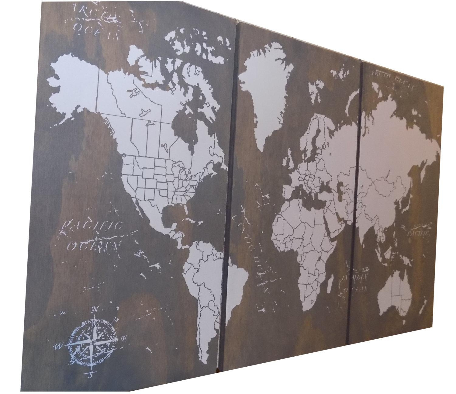 Extra Large World Push Pin Travel Map With Us Borders 3' Throughout Us Map Wall Art (Image 6 of 20)