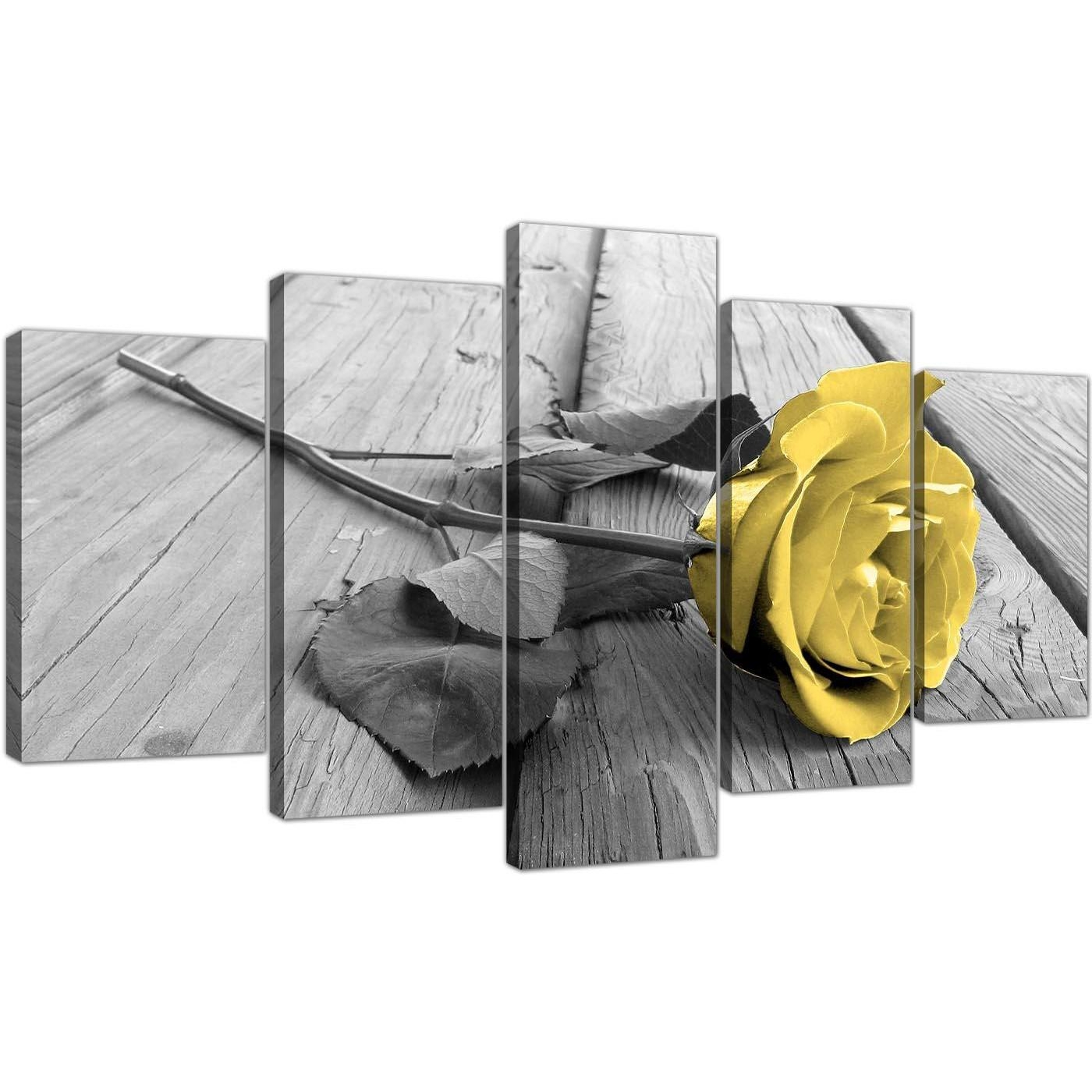 Extra Large Yellow And Grey Rose Canvas Wall Art 5 Piece In Black Throughout Large Yellow Wall Art (Image 5 of 20)