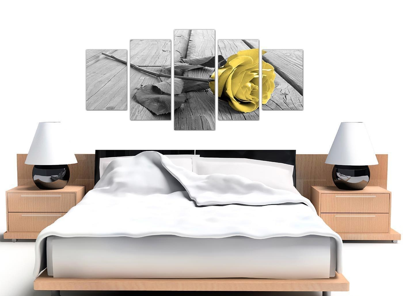 Extra Large Yellow And Grey Rose Canvas Wall Art 5 Piece In Black Within Large Yellow Wall Art (Image 6 of 20)