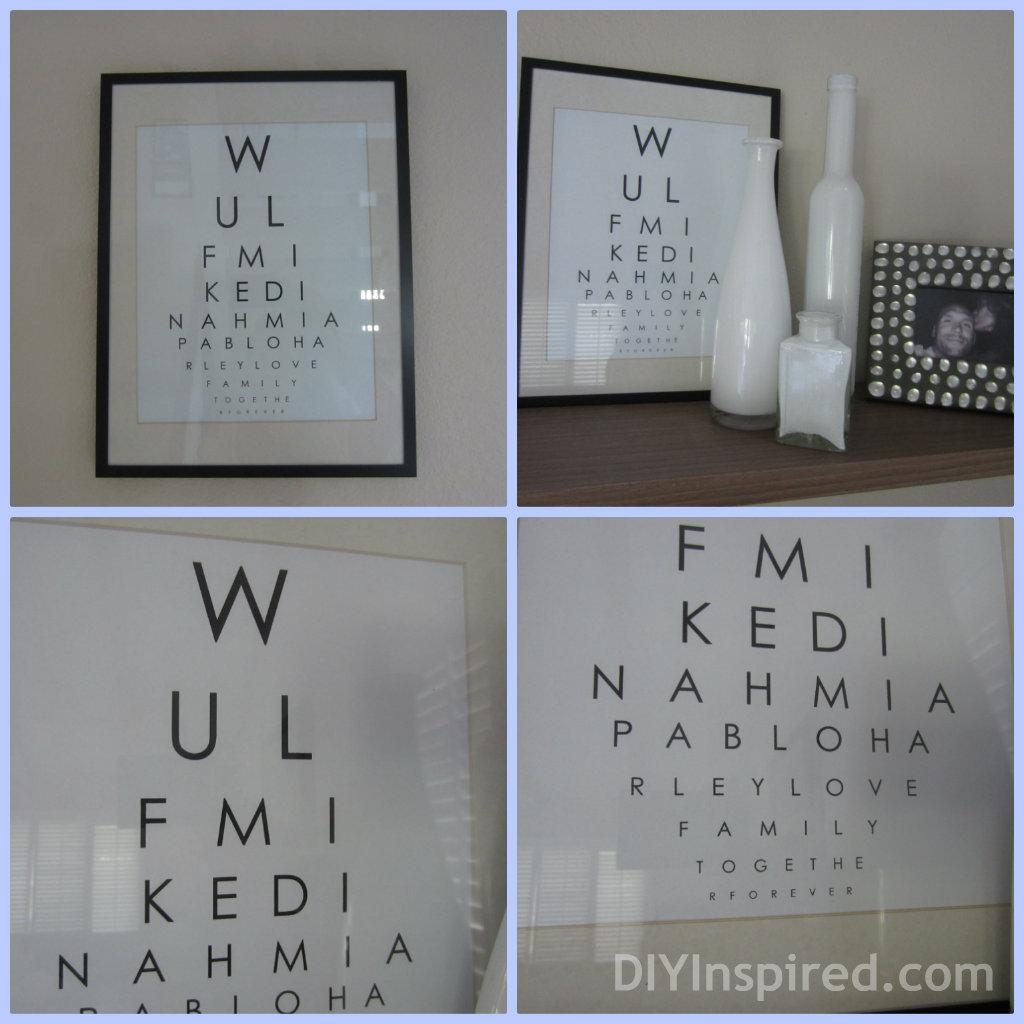 Eye Chart Wall Art – Diy Inspired Throughout Last Name Wall Art (Image 4 of 20)
