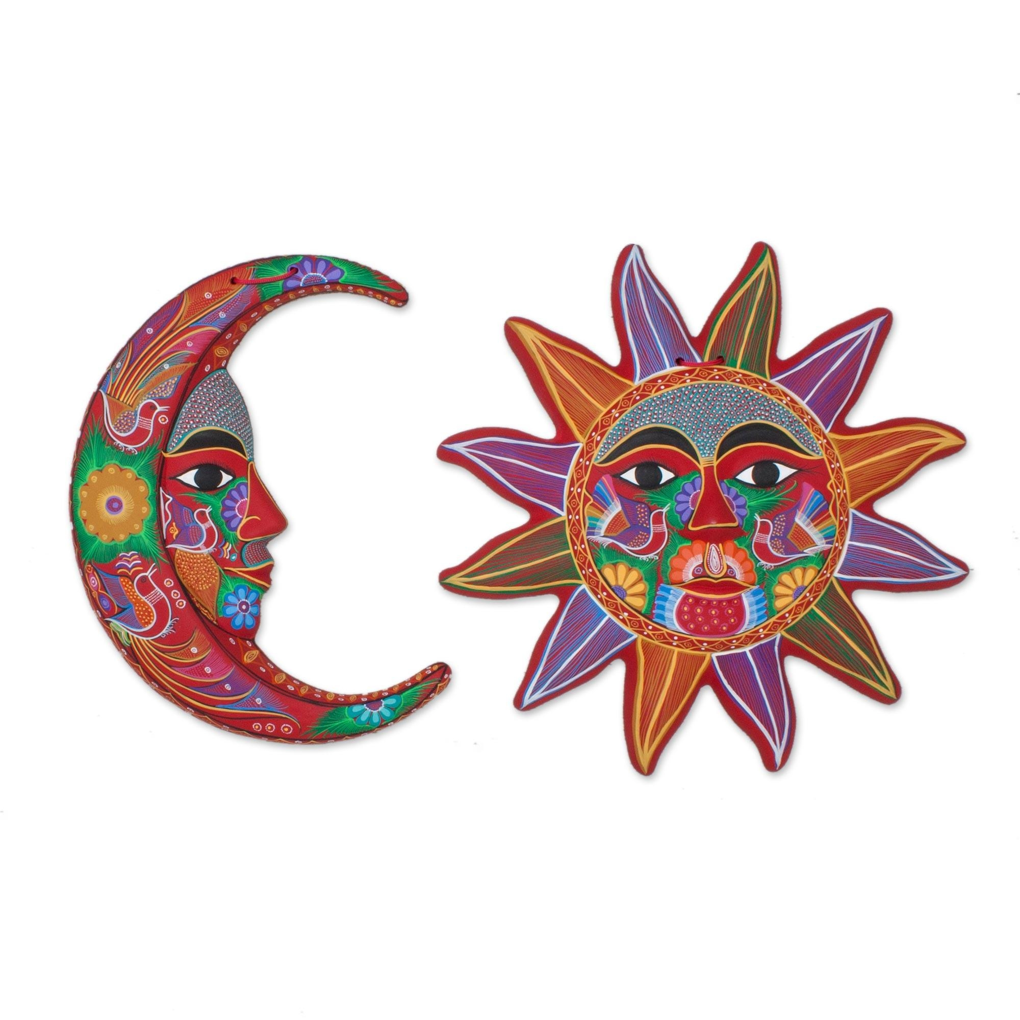 Fair Trade Sun And Moon Ceramic Wall Art From Mexico (Pair For Mexican Metal Wall Art (Image 6 of 20)