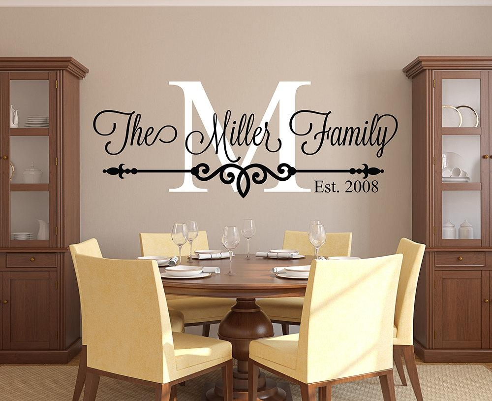 Family Name Wall Decal Personalized Family Monogram Living Intended For Last Name Wall Art (Image 5 of 20)