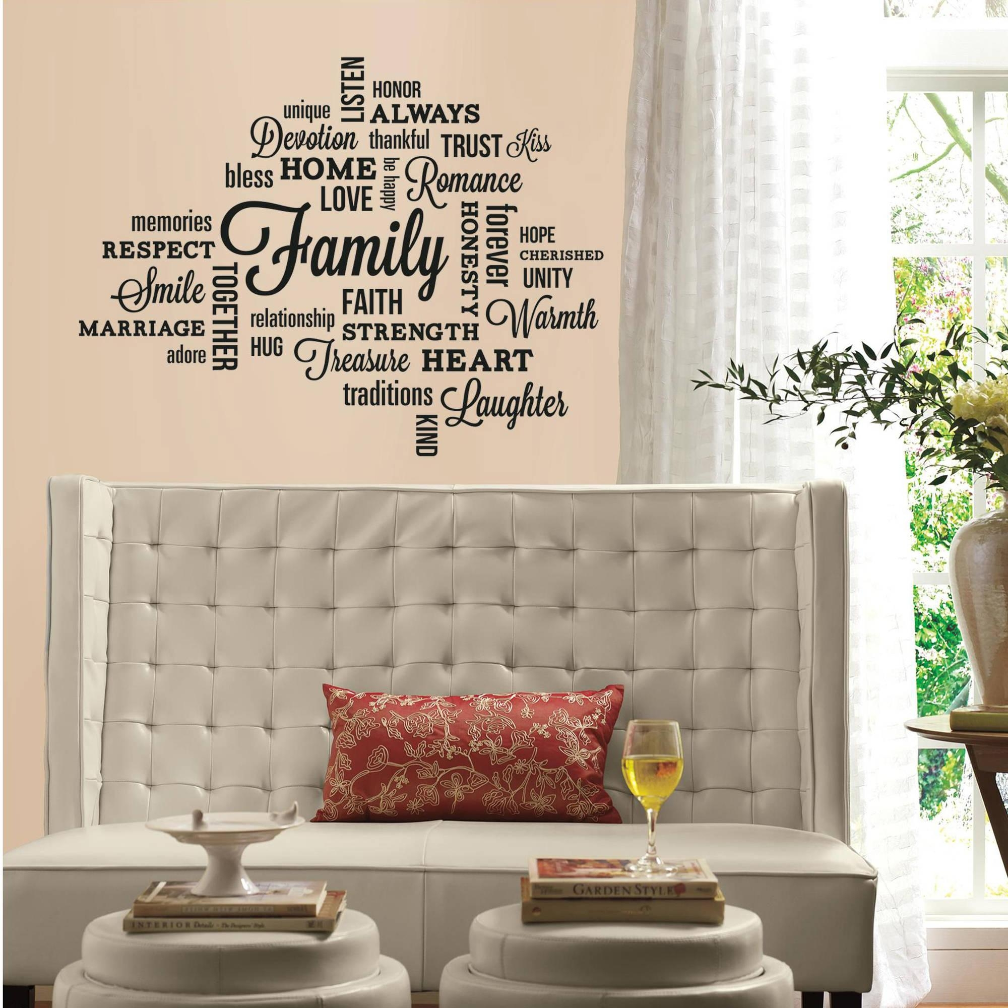 Beau Family Quote Peel And Stick Wall Decals U2013 Walmart In Walmart Wall Stickers  (Image 7