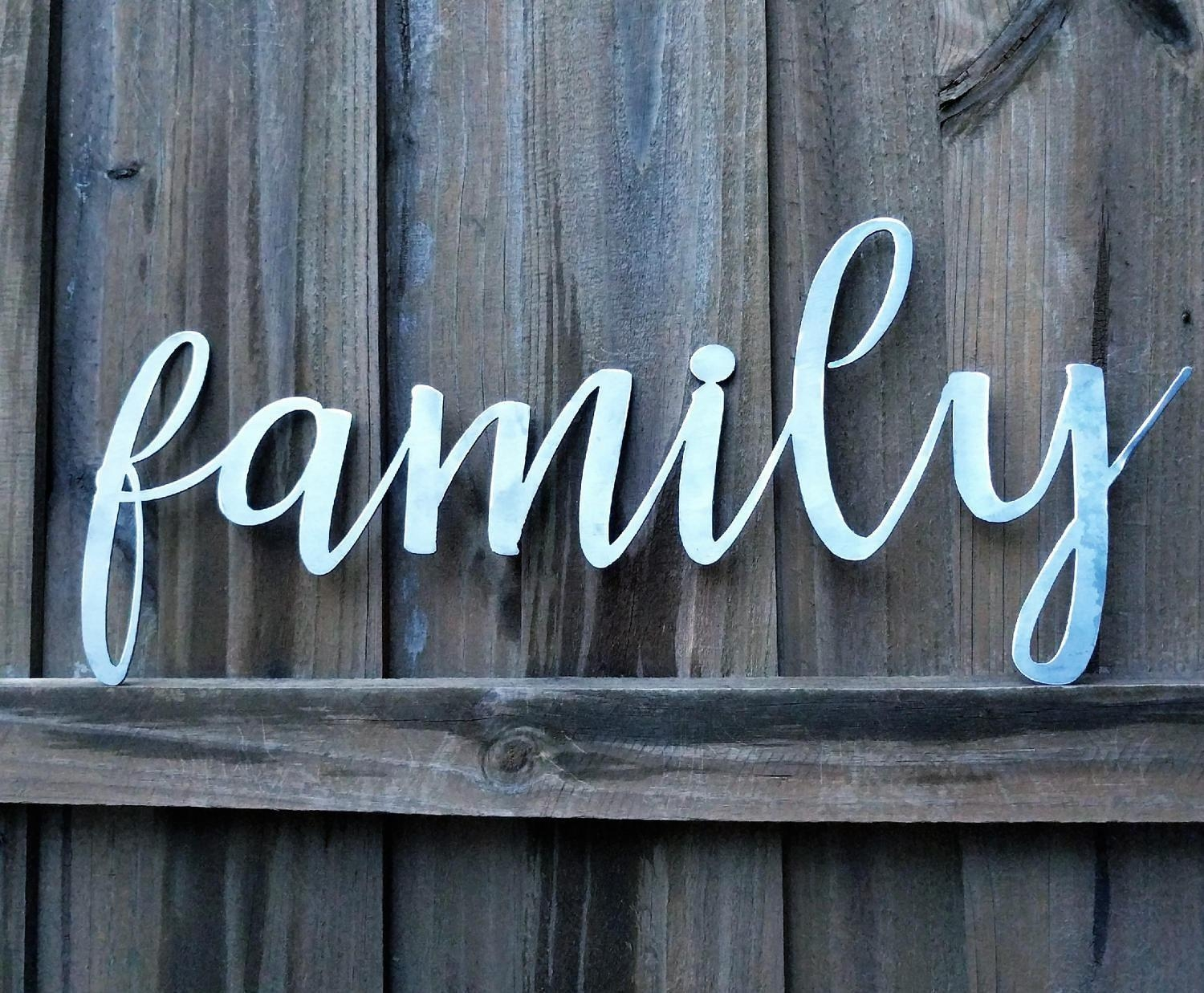 Family Sign, Metal Farmhouse Sign, Metal Words, Metal Wall Art Inside Metal Word Wall Art (Image 3 of 20)