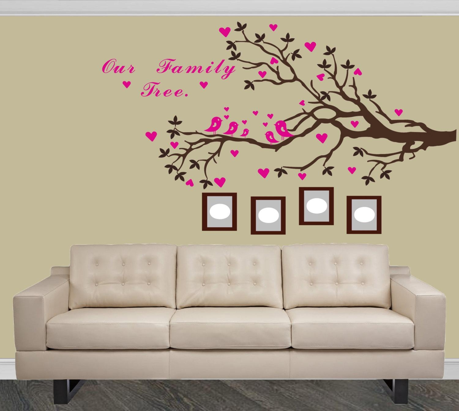 Family Tree Branch Wall Decal Custom Family Tree Vinyl Pertaining To Tree Branch Wall Art (Image 6 of 20)