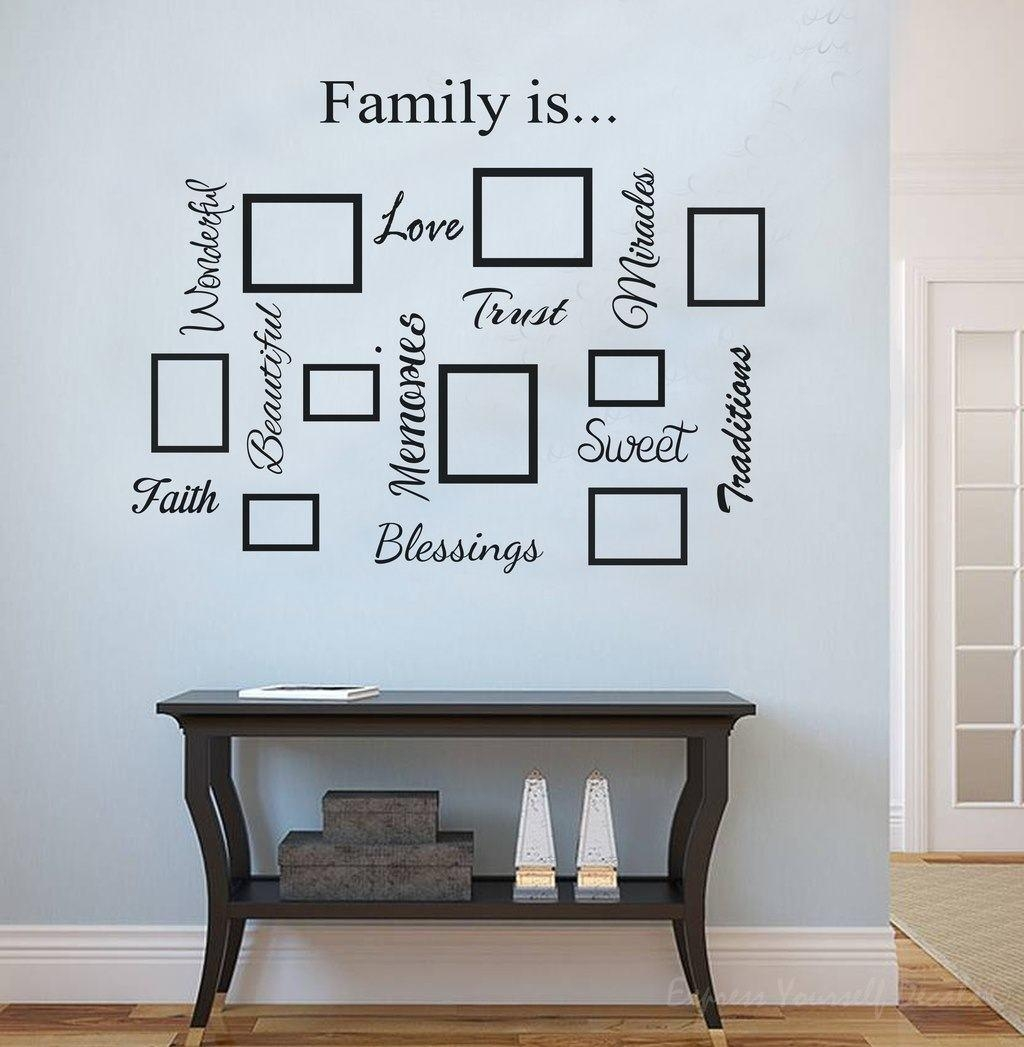Family Word Quote Gallery Wall | Wall Art Decal Sticker Within Family Photo Wall Art (View 16 of 20)