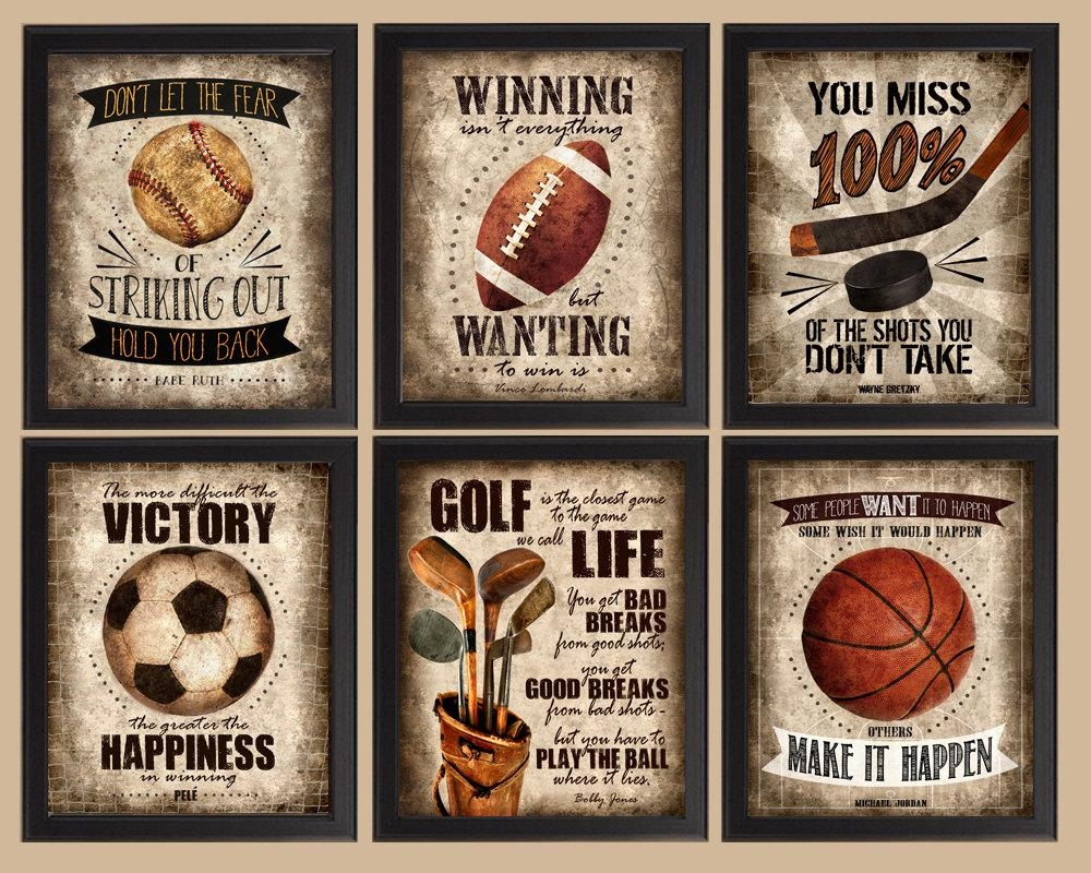 Famous Sports Quotes Set Of 6 Photo Prints Poster Wall With Vintage Baseball Wall Art (View 7 of 20)