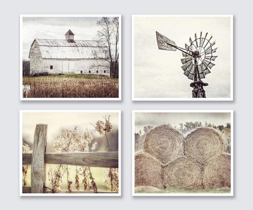 Farmhouse Decor Landscape Prints Set Of 4 Or Canvas Art With Farmhouse Wall Art (View 2 of 20)