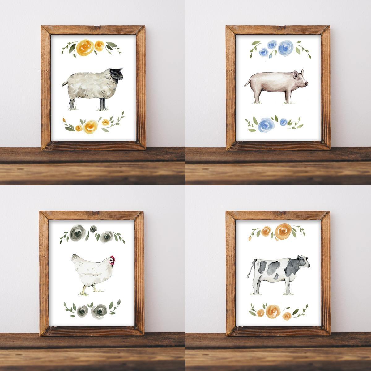 Farmhouse Wall Art, Nursery Wall Art, Shabby Chic Wall Art, Animal In Farmhouse Wall Art (Image 14 of 20)