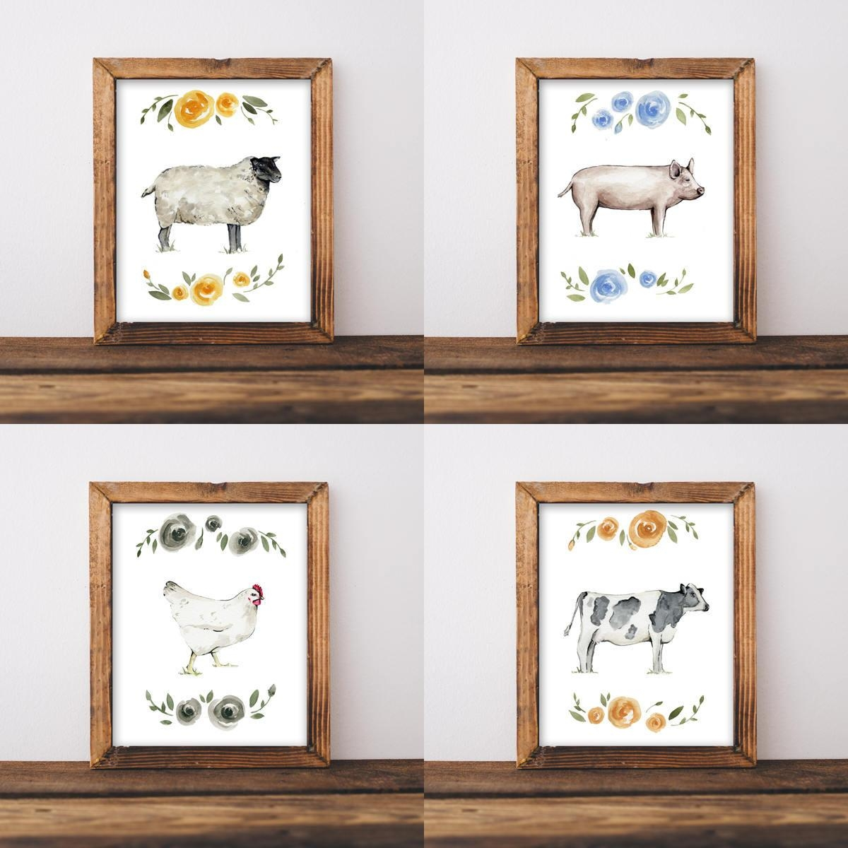Farmhouse Wall Art, Nursery Wall Art, Shabby Chic Wall Art, Animal Intended For Shabby Chic Wall Art (Image 9 of 20)